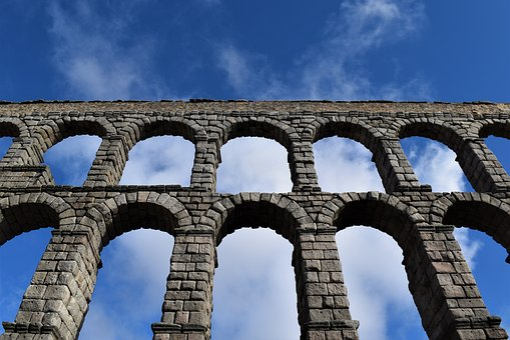 Aqueduct, Roman, Roman Architecture, Blue Sky