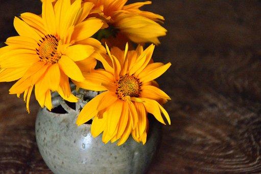 Decoration, Vase, Flower Vase, Flowers, Sun Hat, Yellow