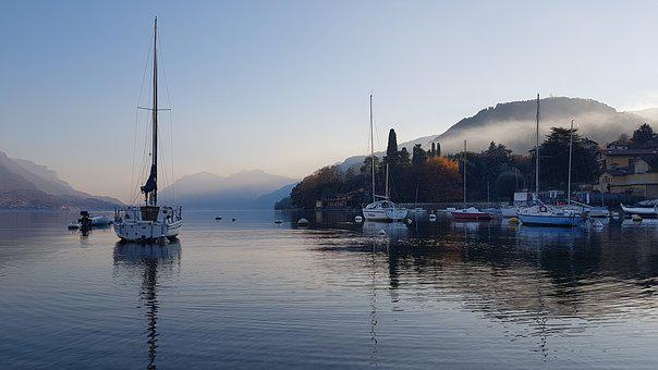 Como, Lake, Evening, Mist, Yacht, Italy, Alps, Lombardy