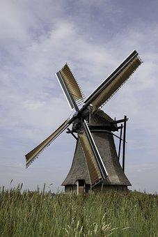Mill, Water Mill, Netherlands, Friesland, Dutch Mill
