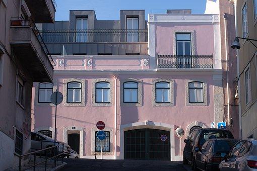 Pink, Street, Architecture, Building, Lisbon, Portugal