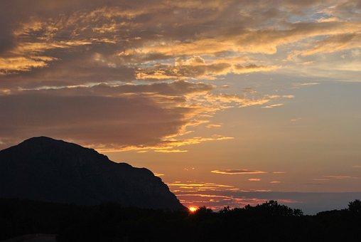 Landscape, Mountain, Nature, Sun, Sunset, Jávea
