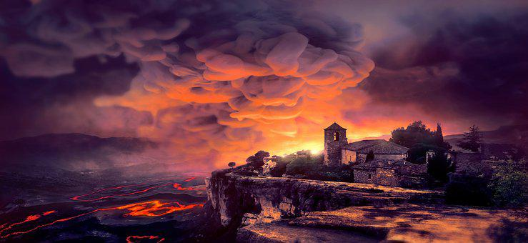 Fantasy, Smoke, Nature, Lava, Disaster, Village, Burn