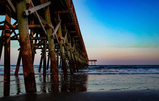 Water, Sea, Pier, Wood, Blue, Ocean, Wave, Nature