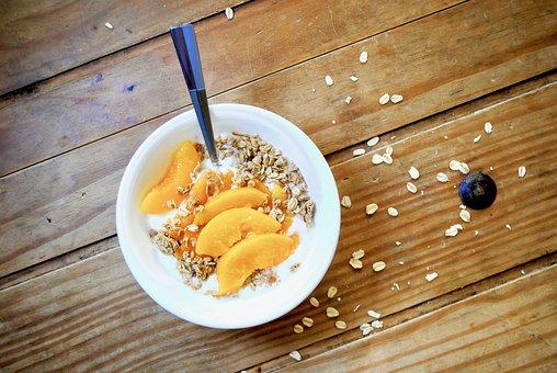 Peach, Yogurt, Wood, Food, Healthy, Dessert, Fruit