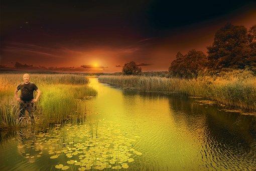 Sunset, Evening, River, Sunset Sky, The Sun, Nature