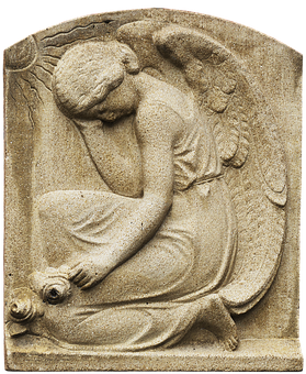 Angel, Mourning, Relief, Wandreflief, Roses, Bas-relief
