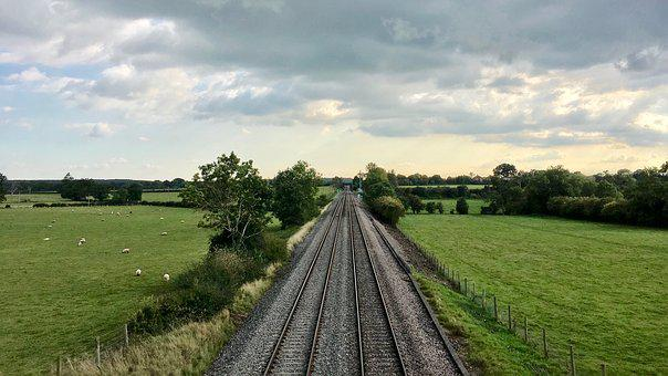 Railway, Line, Railroad, Perspective, Scenery, Sky