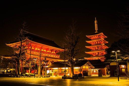 Japan, Temple, Night, Senso-ji Temple, Tourism