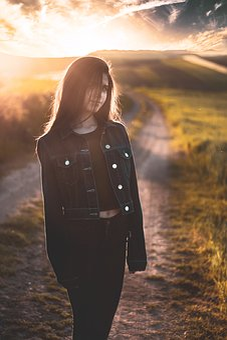 Girl, Portrait, Long Hair, Road, Sunset, Sun, Cloud