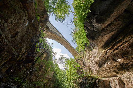 Bridge, Gorge, Road, River, Rock, Water, Canyon, Trees