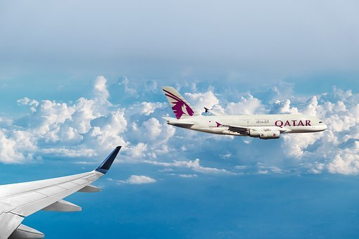 Qatar Airways, Clouds, Fly, Aircraft, Sky, Wing