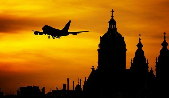 Plane, Flight, Airplane, Hipster, Sunrise, Departure