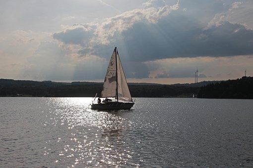 Sailing Boat, Lake, Water, Atmospheric, Summer, Sail