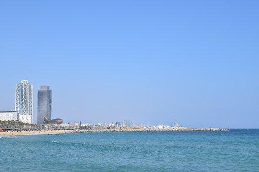Barcelona, Beach, Ocean, Sand, Sky, Sun, Sunny, Tourist