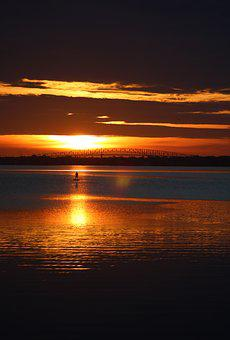Sunrise, Jacksonville, Water, Bay, Paddle Board, Paddle