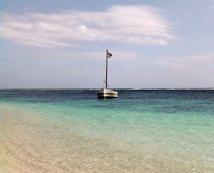 Boat, Flag, Sea, Beach, Sailboat, Mauritius, Holidays