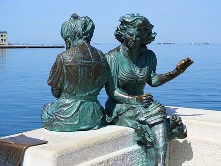 Trieste, Statue, Bronze, Dock, Port, Women, Monument