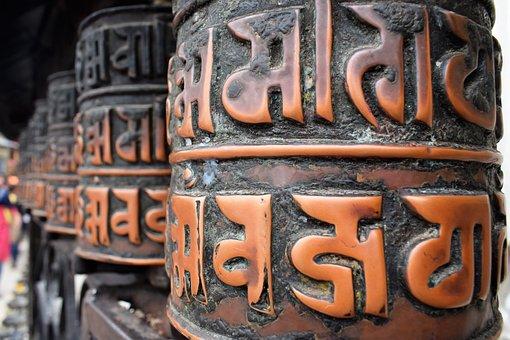 Buddhist, Prayer Wheels, Swayambhunath, Stupa