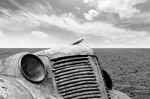 Car, Old, Black, White, Stock, Background, Sky, Grass