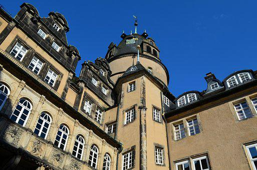 Castle, Schlosshof, Building, Architecture, Tower