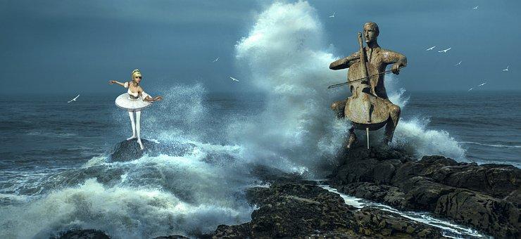 Fantasy, Surf, Dancer, Ballet, Cello, Spray, Sea