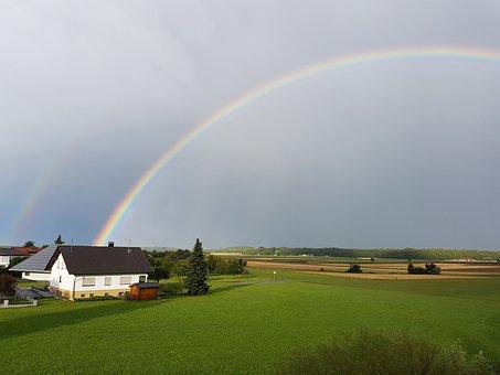 Landscape, Rainbow, Agriculture, Farm, Meadow, Sky