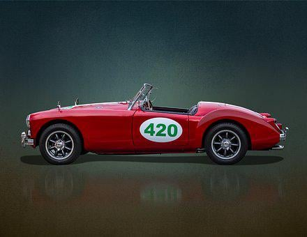 Mga, Mg, Sports Car, Convertible, Roadster, Fifties