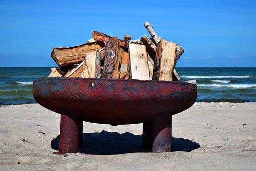 Fire Bowl, Most Beach, Baltic Sea, Wood, Strandbad
