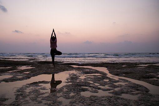 Yoga, Beach, Reflection, Woman, Meditation, Fitness