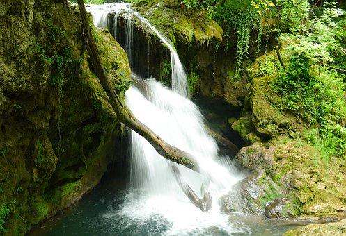 Waterfall, Mountain, Fresh, Stream, Outdoor, Green
