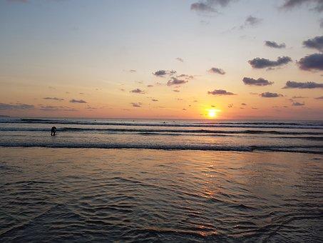 Bali, Kuta, Indonesia, Beach, Ocean, Sunset, Landscape