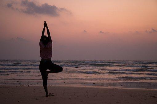 Yoga, Beach, Healthy, Woman, Meditation, Sea, Exercise