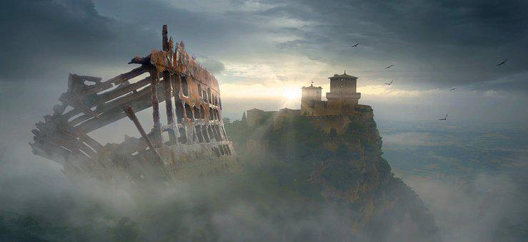 Fantasy, Castle, Fog, Ship, Wreck, Mountain, Mysterious