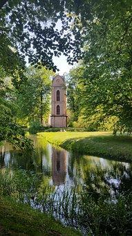 Church, Tower, River, Green, Idyll, Wood, Tree, Nature