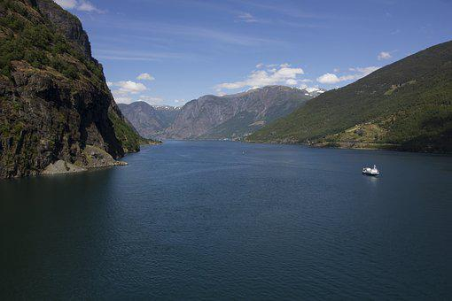 Fjord, Norway, Flam, Nature, The Midday Sun
