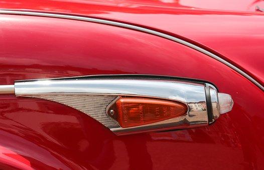 Auto Part, Blinker, Oldtimer, Red, Pkw, Car, Spotlight