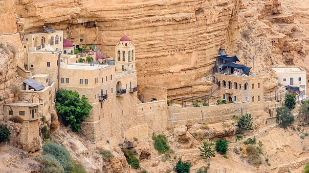 Hills, Desert, Monastery Israel, Religion, Holy