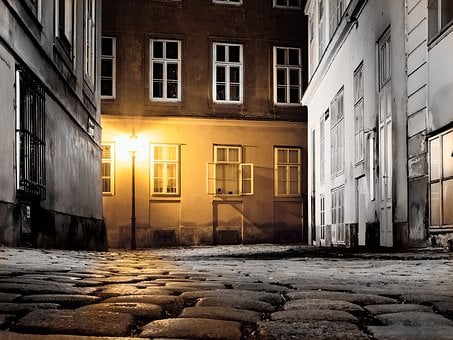 Vienna, Austria, Alley, Road, Old Town, Night, Downtown