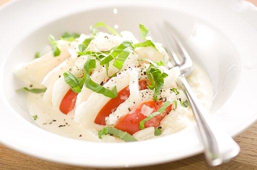 Salad, Tomatoes, Mozzarella, Basil, Healthy, Eat, Food