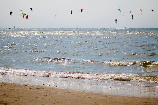 Beach, Kite, Kite Surfing, Sky, Flying, Sea, Wind, Surf
