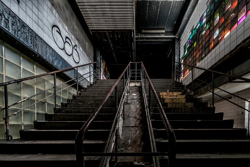 Lost Place, Stairs, Factory, Architecture, Ailing