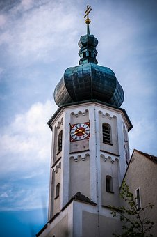 Steeple, Church, Church Clock, Onion Dome, Catholic
