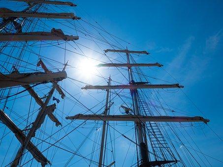 Sailing Vessel, Sun, Blue, Distant, Port, Sailing Boat