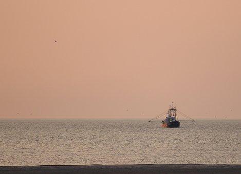 Fisherman, Sea, Watts, Sunset, North Sea, Ship, Stand