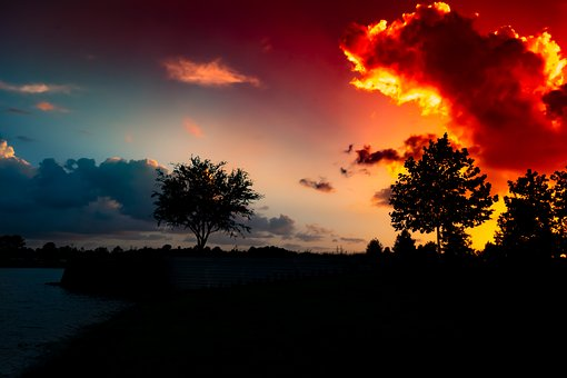 Sunset, Glowing Red Clouds, Dramatic, Sky, Blue, Clouds