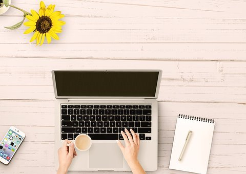 Notebook, Mobile Phone, Table, Paper, Sun Flower