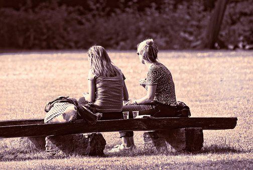 Person, People, Woman, Sitting, Bench, Two, Together