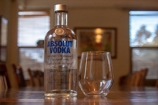Alcohol, Vodka, Absolute, Alcoholic, Close Up, Glass