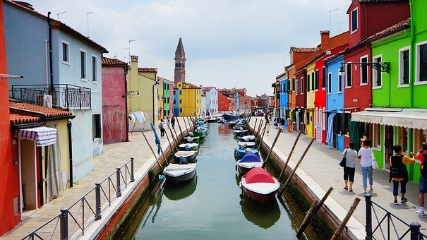 Channels, Water, Boats, Cottages, Colored Houses